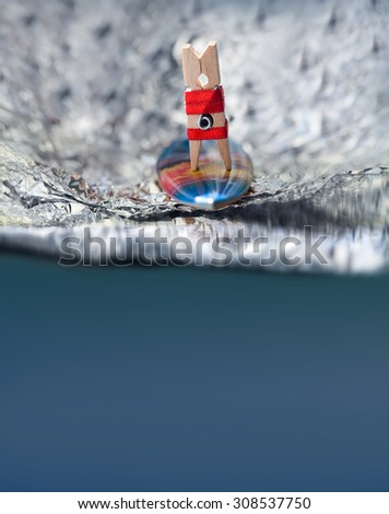 Surfing in motion. Surfer girl in red bikini on a wave. Abstract sport concept with surfing clothespin. Soft focus, marine color background, toned photo. Copy space - stock photo