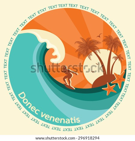 Surfing label illustration for text.Symbol seascape with blue wave.Raster - stock photo