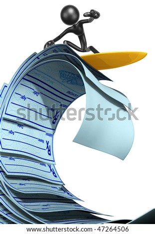 Surfing On Medical Prescriptions - stock photo