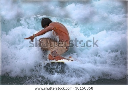 Surfing the waves - artistic colors, low key, and drama - stock photo