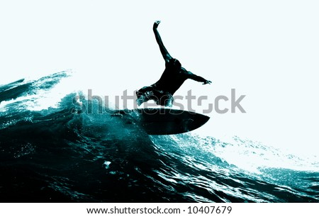 Surfing the Waves off Bondi Beach, Sydney - stock photo