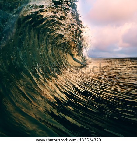 Surfing tropical design template. breaking ocean wave closing - stock photo