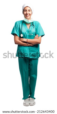 surgeon portrait isolated on a white background - stock photo