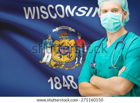 Surgeon with US state flag on background - Wisconsin - stock photo