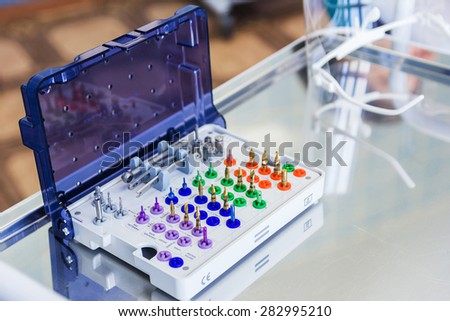 Surgical kit of instruments used in dental implantology