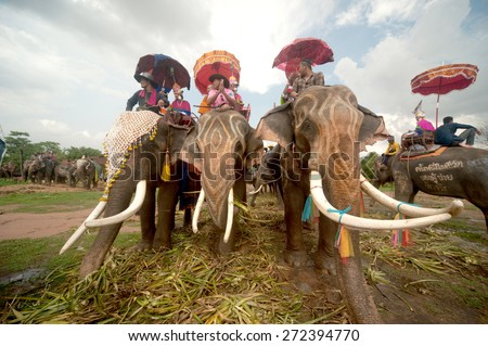 SURIN,THAILAND-MAY 23 : Ordination Parade on Elephants Back Festival is when elephants parade and carry Novice monk on their backs at  Wat Chang Sawang to Moon river on May 23,2013 in Surin,Thailand. - stock photo