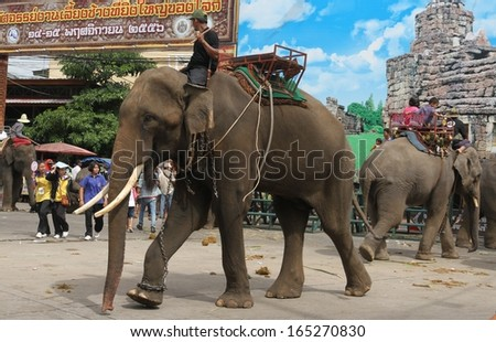 SURIN, THAILAND - NOVEMBER 15: The street parade of the annual Elephant Roundup in Surin, Thailand on the 15th November, 2013.