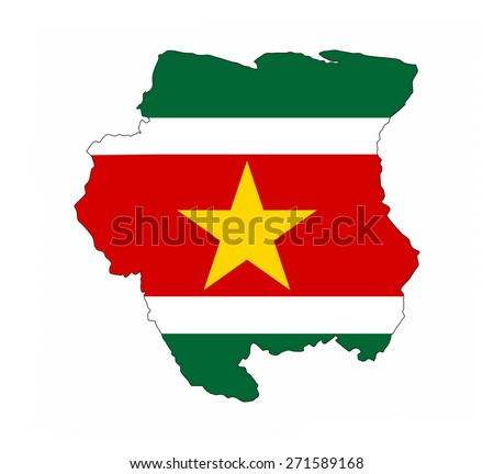suriname country flag map shape national symbol - stock photo