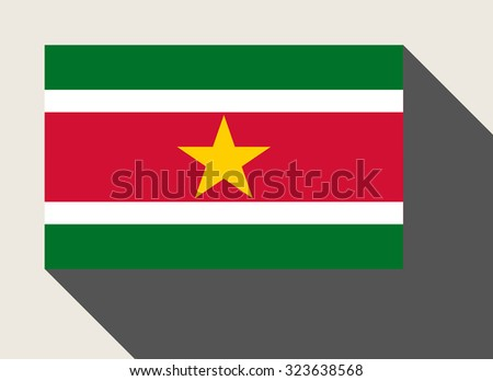 Suriname flag in flat web design style. - stock photo