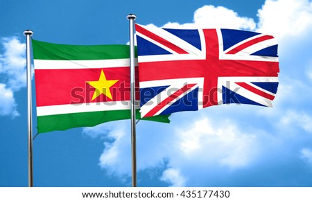 Suriname flag with Great Britain flag, 3D rendering