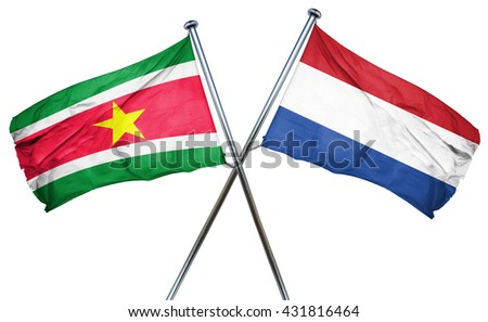 Suriname flag with Netherlands flag, 3D rendering