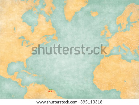 Suriname (Surinamese flag) on the map of North Atlantic Ocean. The Map is in vintage style and sunny mood. The map has soft grunge and vintage atmosphere, like watercolor painting on old paper.  - stock photo
