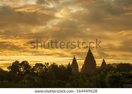 Surine scence of Prambanan Temple, Java, Indonesia - stock photo