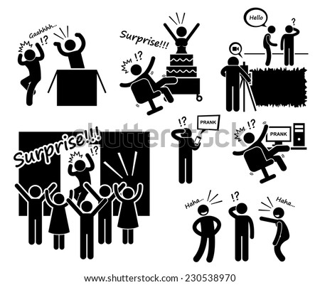 Surprise and Prank Stick Figure Pictogram Icons - stock photo