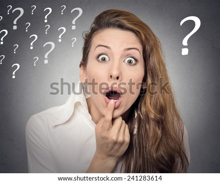 Surprise astonished woman. Headshot portrait woman looking surprised in disbelief wide open mouth isolated grey wall background. Human emotion face expression body language. Funny girl with question - stock photo