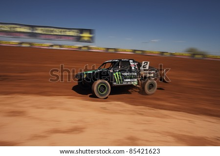 SURPRISE, AZ - SEPT 24: Jeremy McGrath (2) at speed in Pro 2 practice for Lucas Oil Off Road Series racing on Sept. 24, 2011 at Speedworld Off Road Park in Surprise, AZ. - stock photo