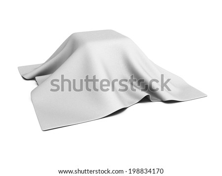 surprise box covered with white cloth. 3d render illustration