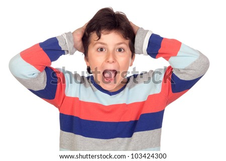 Surprise boy with a striped jersey isolated on a over white background - stock photo