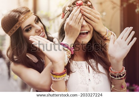Surprise for the best friend - stock photo