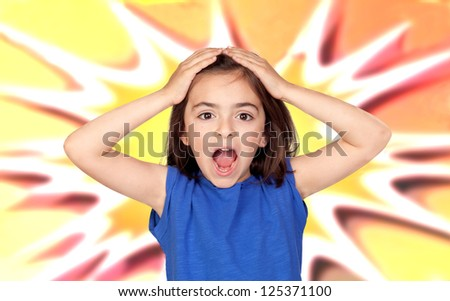 Surprise little girl with a colored background - stock photo
