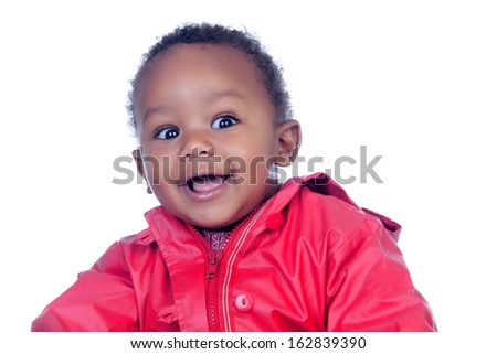 Surprised african baby smiling isolated on a white background - stock photo