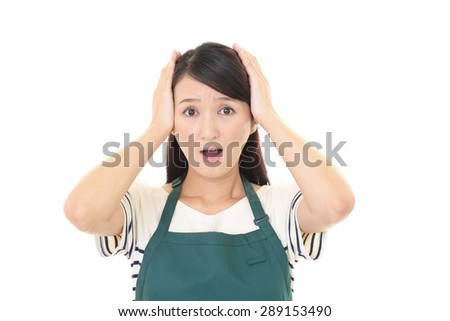 Surprised Asian woman  - stock photo