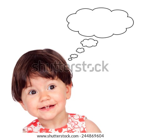 Surprised baby girl with only four teeth thinking something isolated on a white background - stock photo