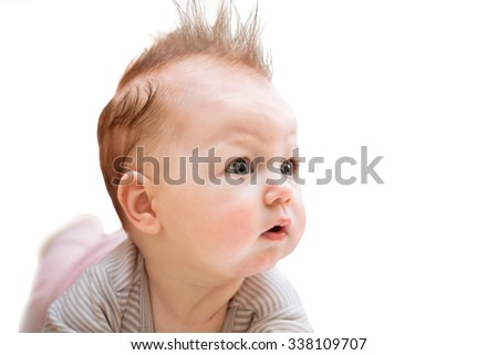 Surprised baby on white background