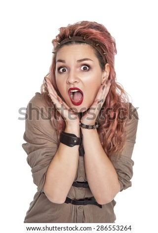 Surprised beautiful woman screaming isolated over white - stock photo