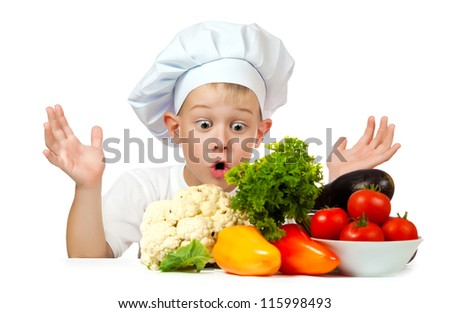 Surprised boy Chef is holding his head with hands. isolated