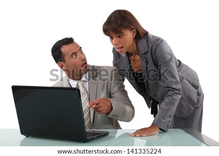 Surprised business people - stock photo