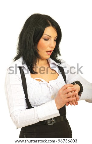 Surprised business woman checking time isolated on white background - stock photo