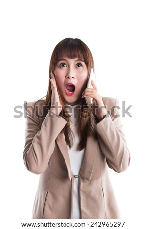Surprised business woman on phone, isolate on white background