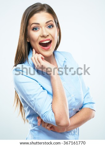 Surprised Business woman portrait.  Isolated young model. - stock photo