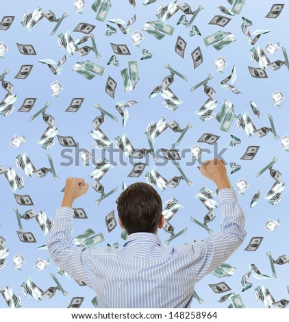 Surprised businessman and flying dollar banknotes against blue sky - stock photo