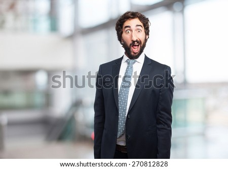 surprised businessman. company background - stock photo