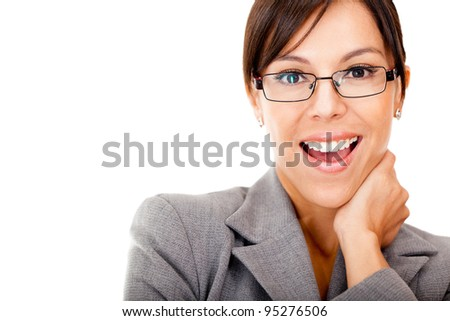 Surprised businesswoman - isolated over a white background