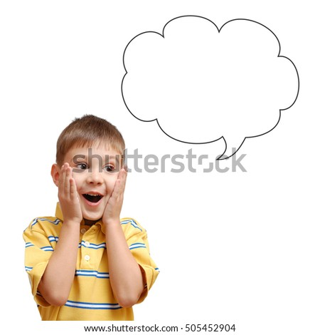 Surprised child and speech bubble isolated on white background
