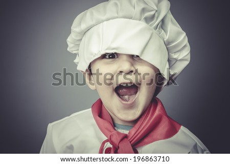 surprised child dress funny chef, cooking utensils - stock photo