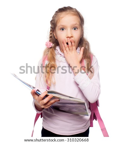 Surprised child with schoolbag. Girl with school bag isolated on white - stock photo