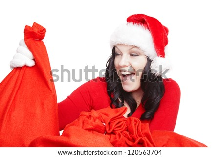 surprised christmas woman holding present isolated over white background - stock photo