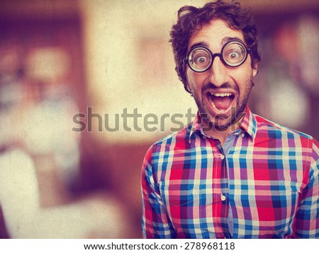 surprised crazy man - stock photo