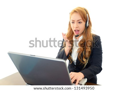 Surprised customer services operator - stock photo