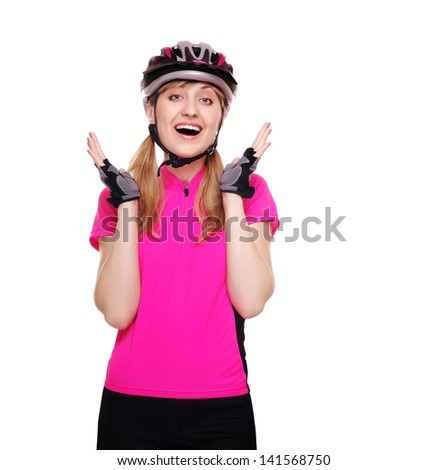 surprised cyclist girl wearing pink jersey isolated on white - stock photo