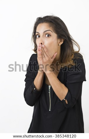 Surprised Excited Attractive Woman Over White Background - stock photo