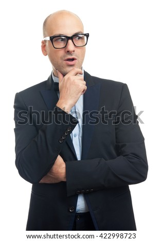 surprised fashionable bald man wearing glasses looking away. Isolated