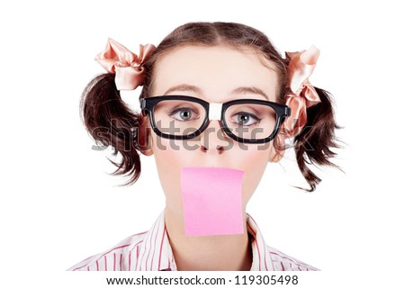 Surprised Female Admin Assistant Taking Telephone Message With A Stick Note Paper Covering Mouth On White Background - stock photo