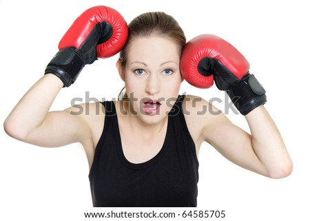 surprised female boxer isolated over white