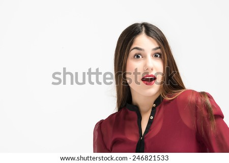 Surprised  female close up face with red dress