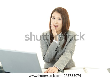 Surprised female office worker